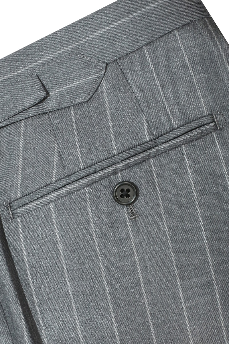 InStitchu Collection The Winton Grey Pinstripe Wool Pants
