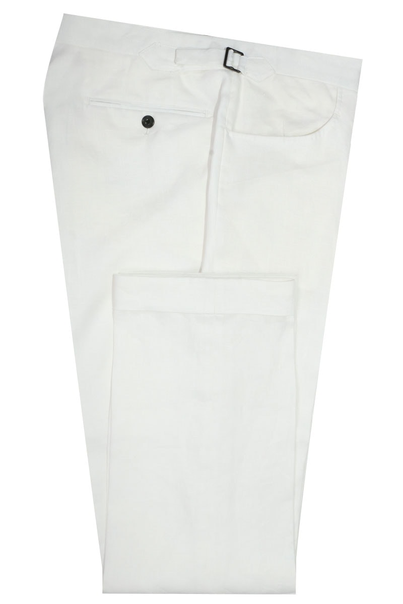 InStitchu Collection The Wolfe White Linen Pants