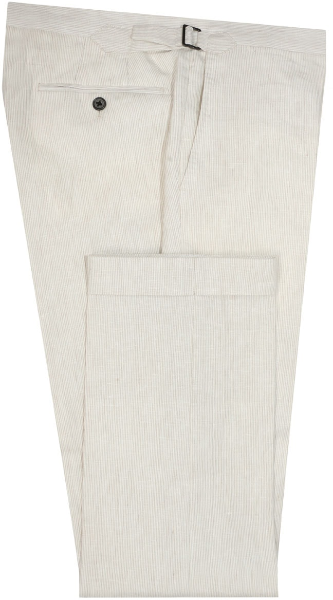 InStitchu Collection The Wolfsheim Cream Striped Linen Pants
