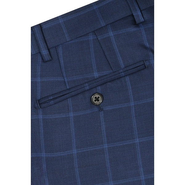 InStitchu Collection Walker Blue Glen Plaid Wool Pants