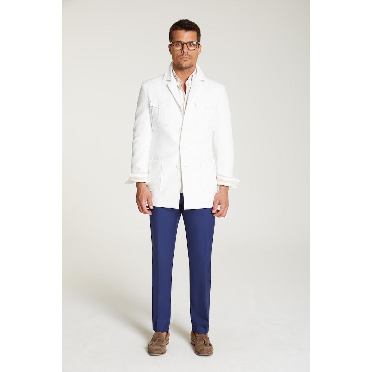 InStitchu Collection The Atacama White Linen Safari Jacket