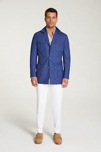 InStitchu Collection The Patagonia Royal Blue Wool Blend Safari Jacket