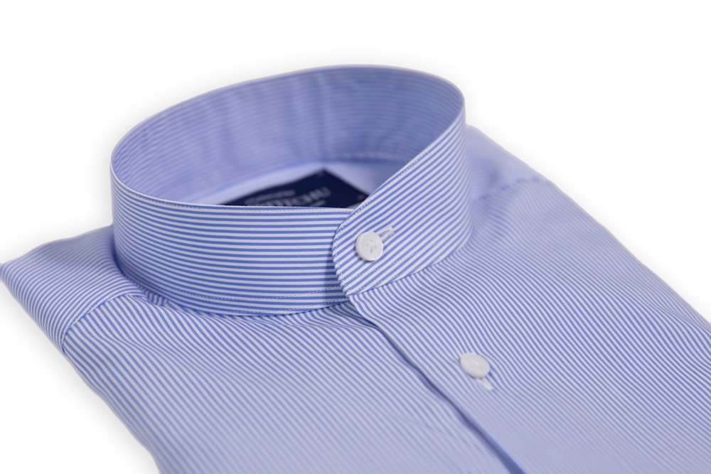 Light Blue/White Fine Striped Band Collar Shirt
