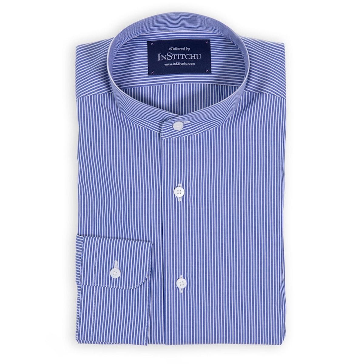 Medium Blue Fine Striped Band Collar Shirt