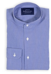 Medium Blue Fine Striped Band Collar Shirt