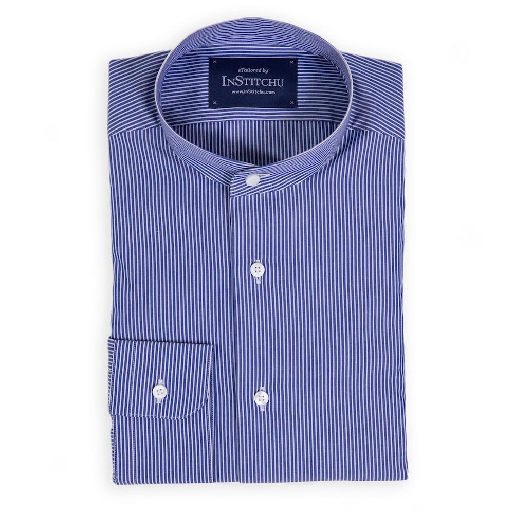 Royal Blue Fine Striped Band-Collar Shirt