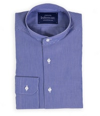 Royal Blue Fine Striped Band-Collar Shirt
