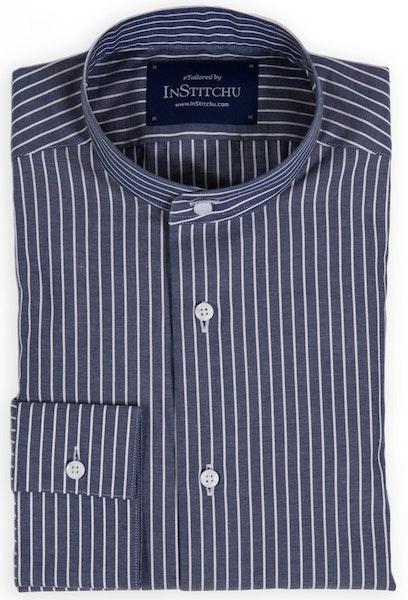 Navy Fine Striped Band-Collar Shirt
