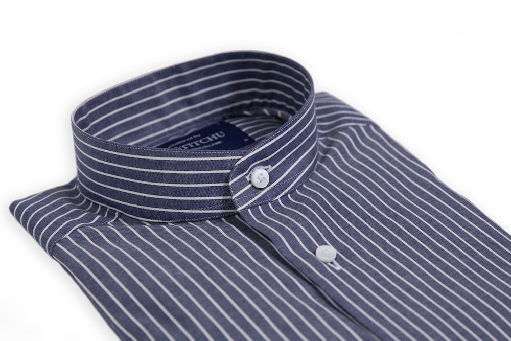 Navy Fine Striped Band-Collar Shirt