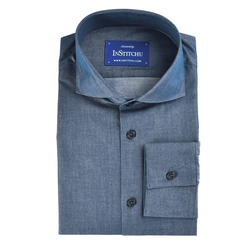 InStitchu Collection Dark Blue Chambray Cotton
