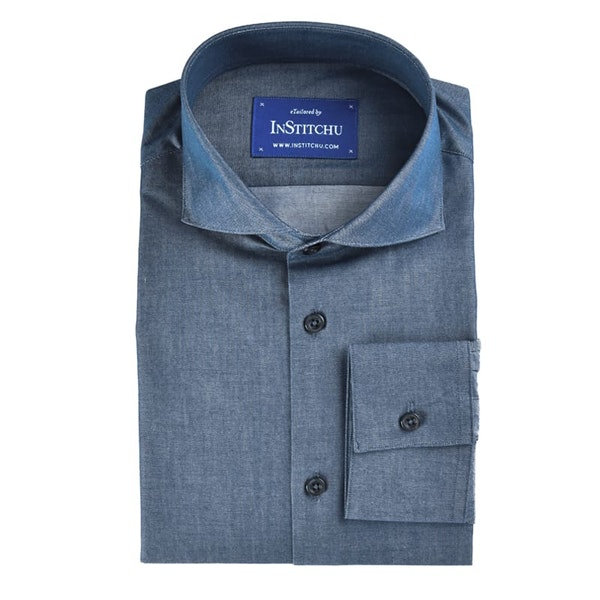 InStitchu Collection Dark Blue Chambray Cotton