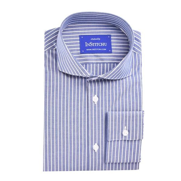 InStitchu Collection Medium Blue Stripes Easy Iron Cotton