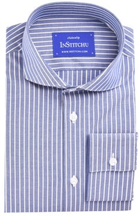 InStitchu Collection Medium Blue Stripes Easy Iron Cotton