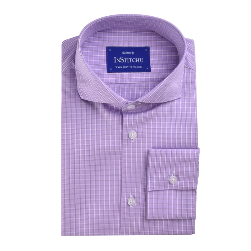 InStitchu Collection Lilac Check Easy Iron Cotton