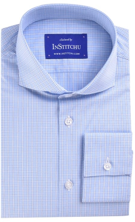 InStitchu Collection Light Blue Check Easy Iron Cotton