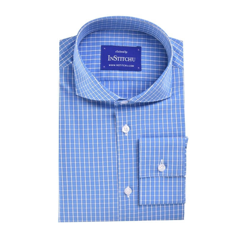 InStitchu Collection Medium Blue Check Easy Iron Cotton