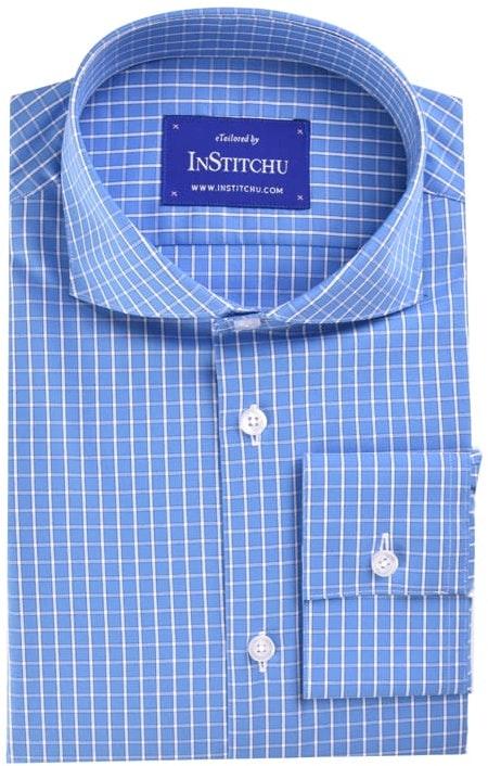 InStitchu Collection Medium Blue Check Easy Iron Cotton