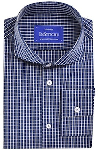 InStitchu Collection Navy Check Easy Iron Collection
