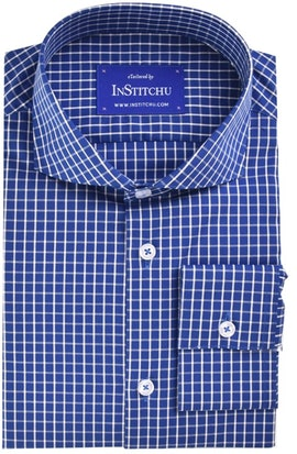 InStitchu Collection Royal Blue Check Easy Iron Collection