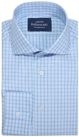 InStitchu Collection Myrtle Blue Wrinke Free Check Shirt