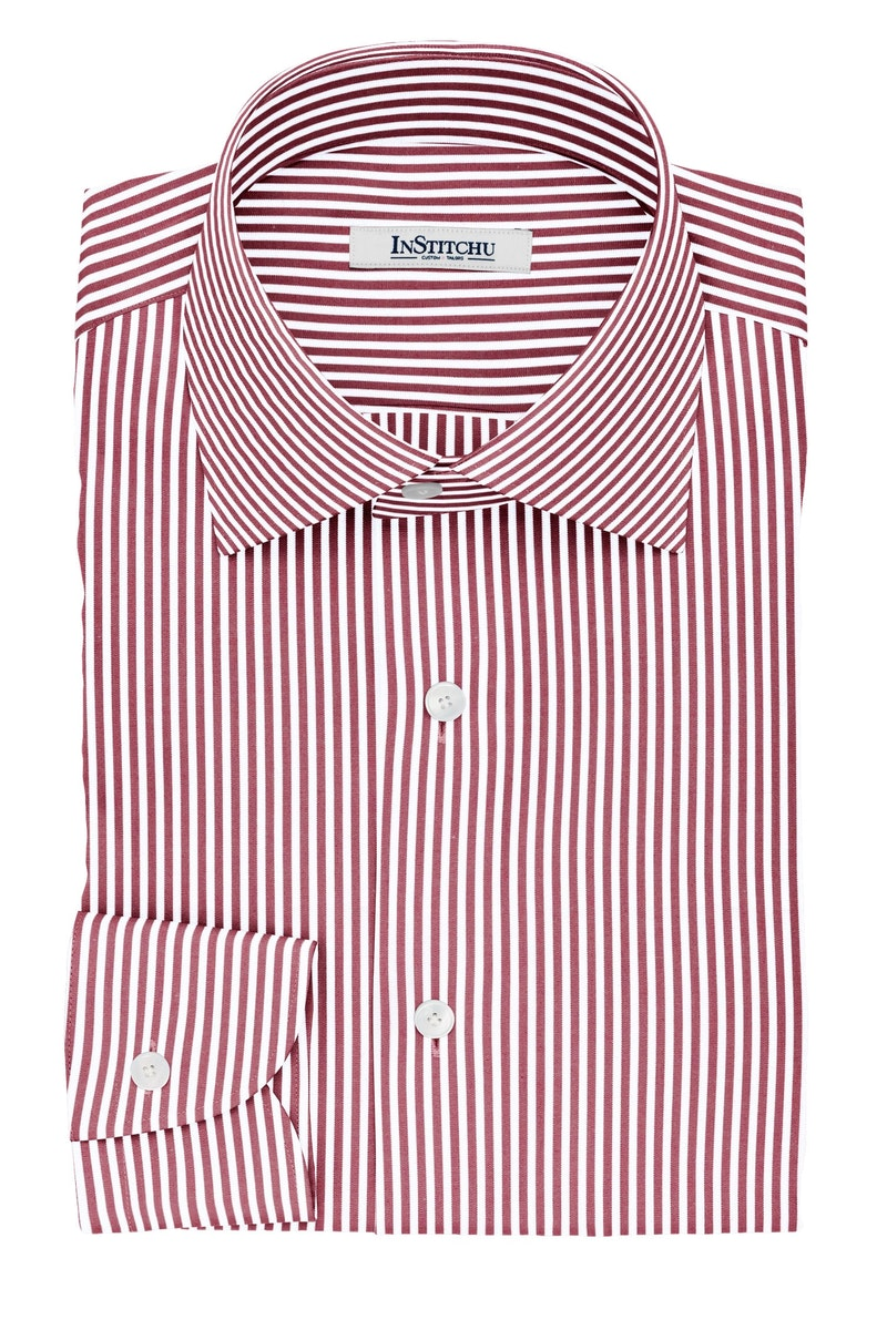 InStitchu Collection The Abrams Red and White Striped Cotton Shirt