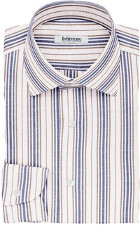 InStitchu Collection The Adair White, Blue and Brown Striped Linen Blend Shirt