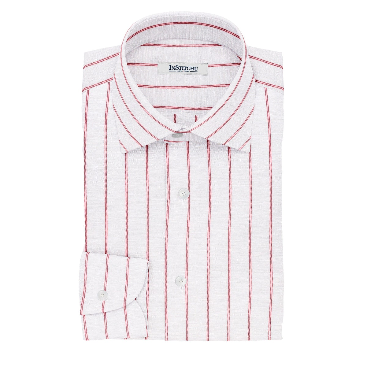InStitchu Collection The Ambler White and Red Pinstripe Cotton Blend Shirt