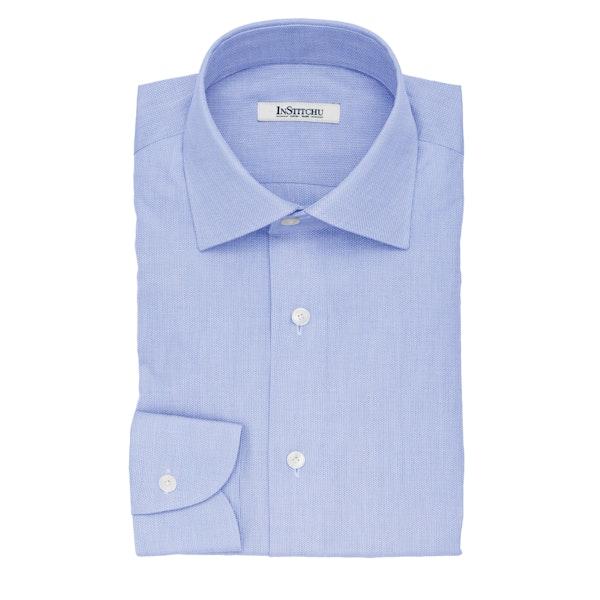 InStitchu Collection The Aristotle Blue Textured Cotton Shirt