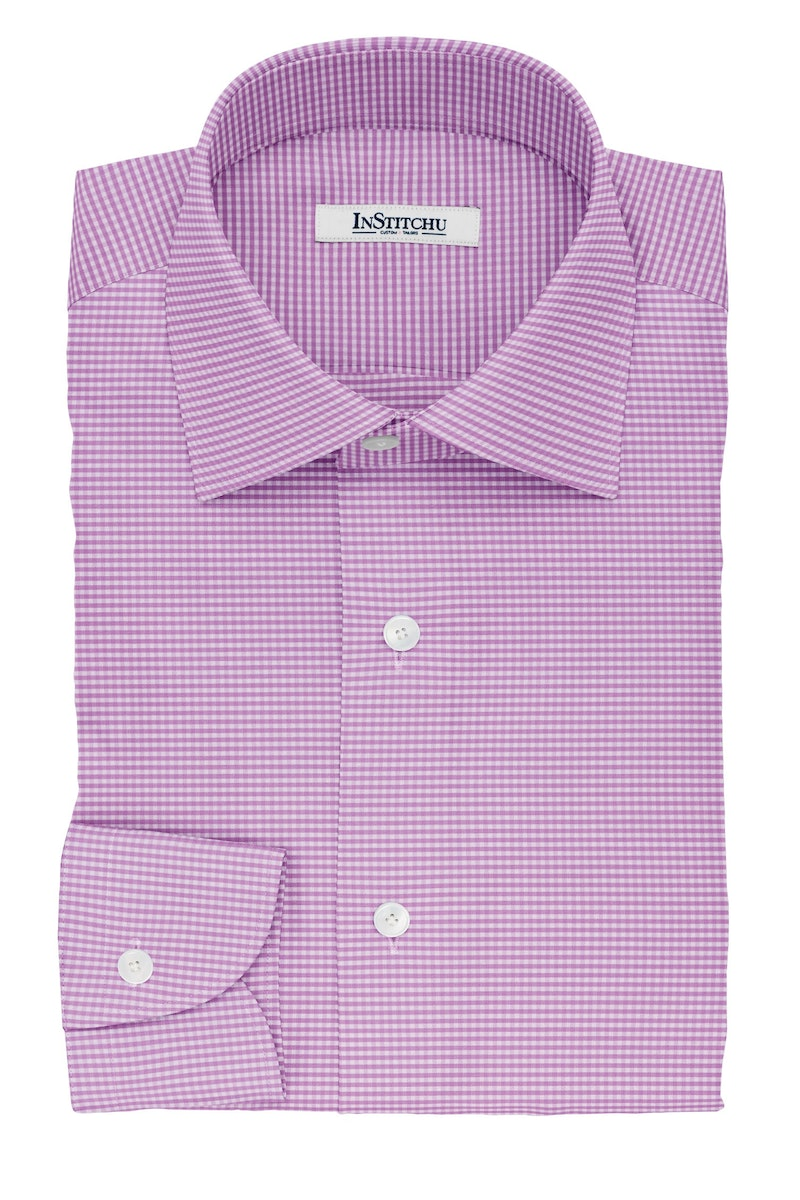 InStitchu Collection The Augustine Violet Gingham Check Cotton Shirt