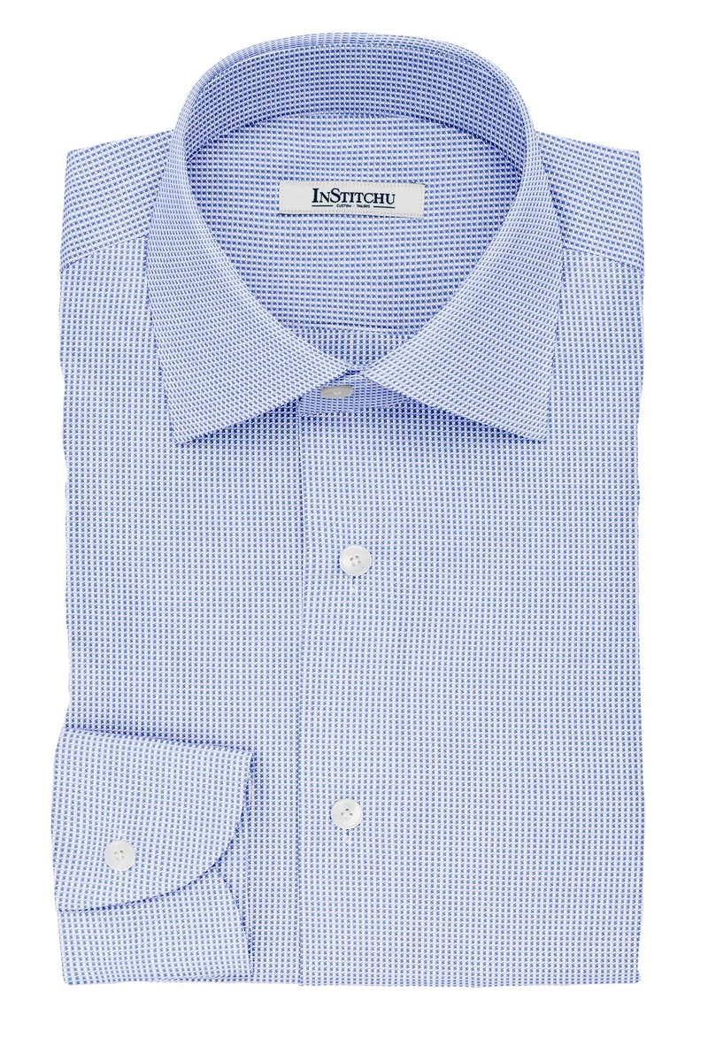 InStitchu Collection The Austen Blue and White Pincheck Cotton Shirt