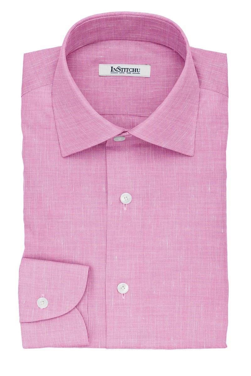 InStitchu Collection The Balzac Pink Cotton Linen Blend Shirt