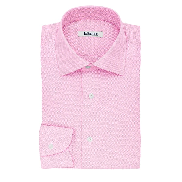 InStitchu Collection The Bierce Pink Textured Cotton Shirt