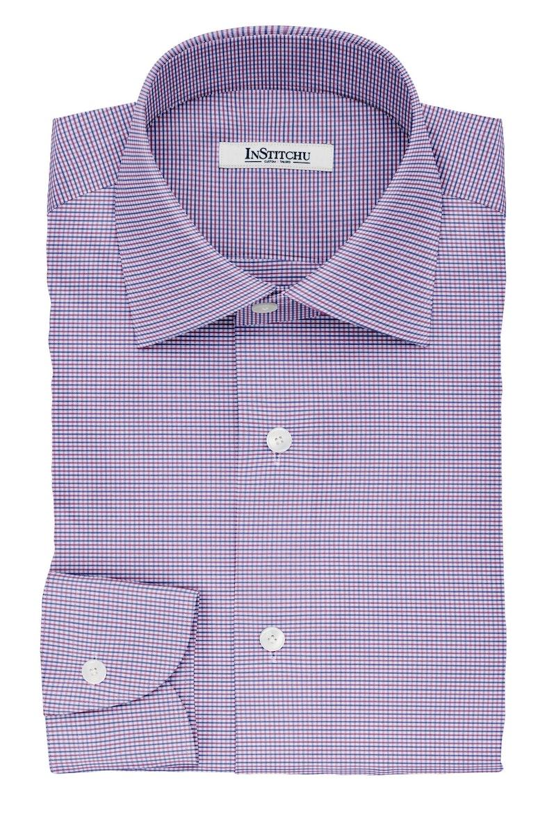 InStitchu Collection The Blake Blue and Purple Plaid Cotton Shirt