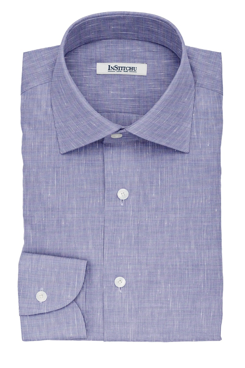 InStitchu Collection The Bonaparte Navy Cotton Linen Blend Shirt
