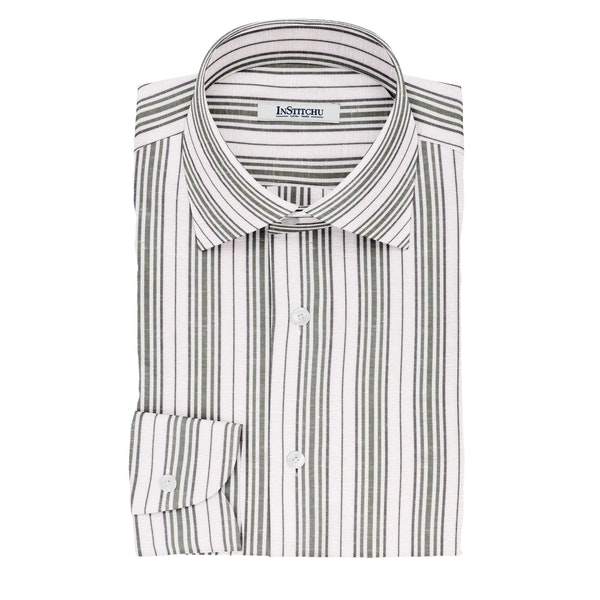 InStitchu Collection The Burke White, Green and Black Striped Linen Blend Shirt