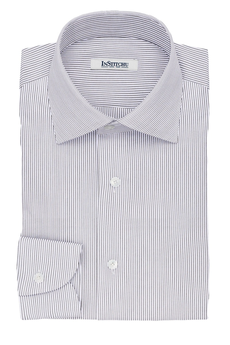 InStitchu Collection The Carre Black and White Striped Cotton Shirt