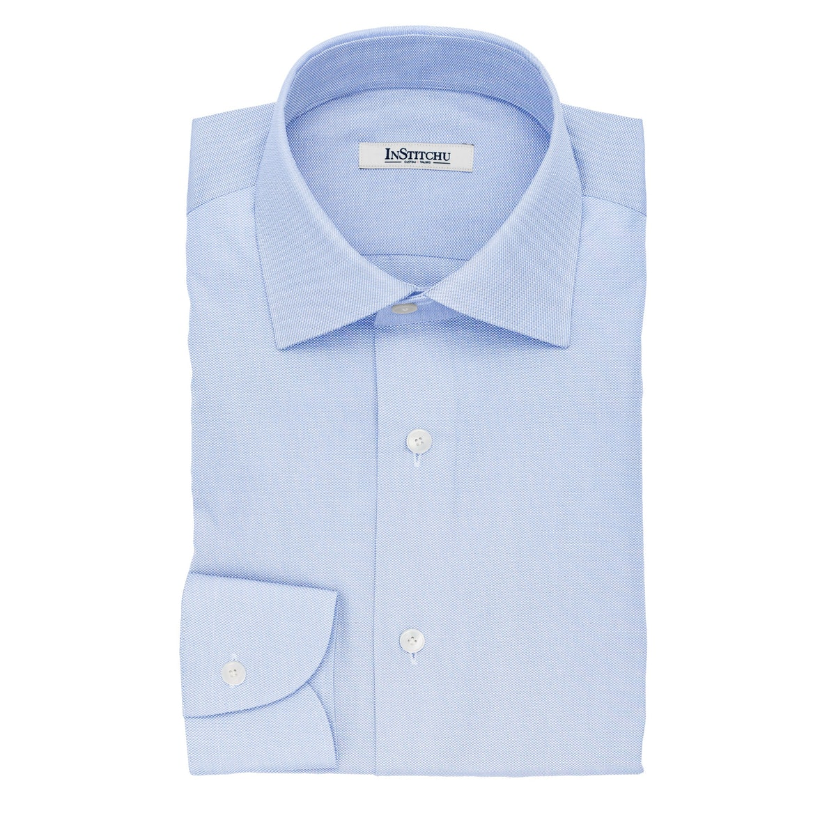 InStitchu Collection The Carroll Blue Textured Cotton Shirt