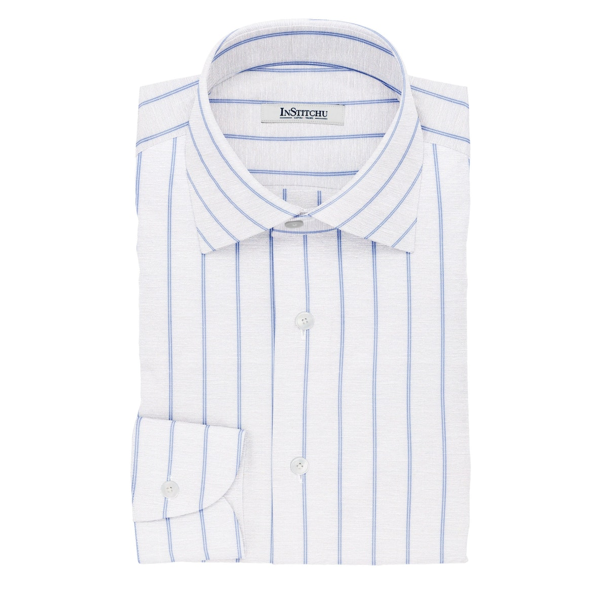 InStitchu Collection The Clancy White and Blue Striped Cotton Blend Shirt
