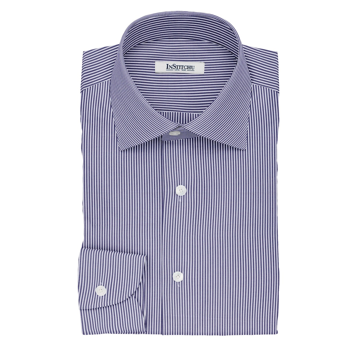 InStitchu Collection The Coates Navy and White Striped Cotton Shirt