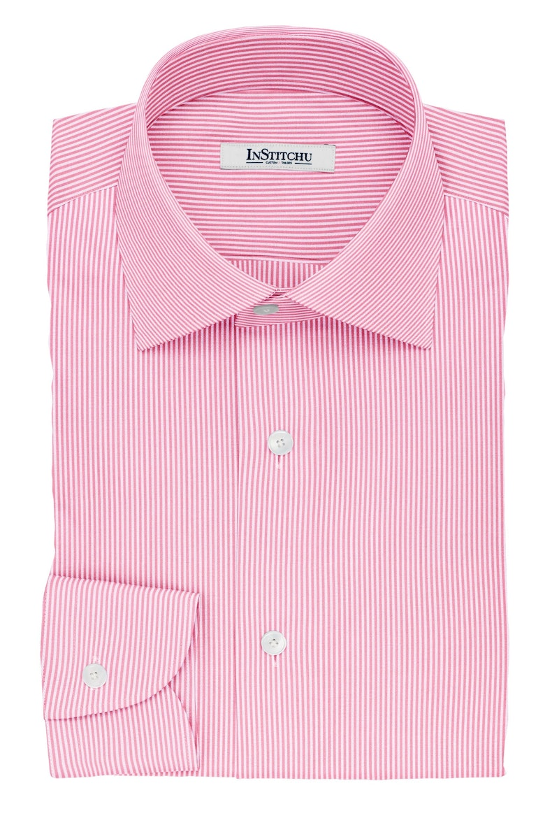 InStitchu Collection The Coleridge Pink and White Striped Cotton Shirt