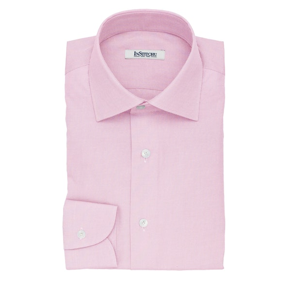 InStitchu Collection The Cussler Pink Pincheck Cotton Shirt