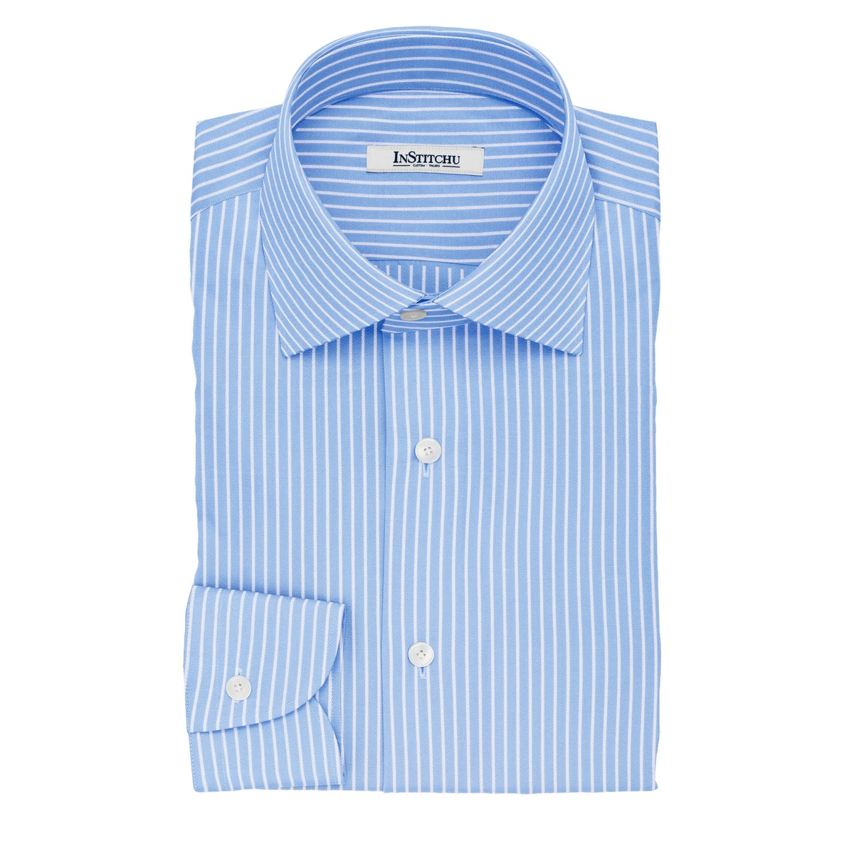 InStitchu Collection The Dahl Blue and White Striped Cotton Shirt