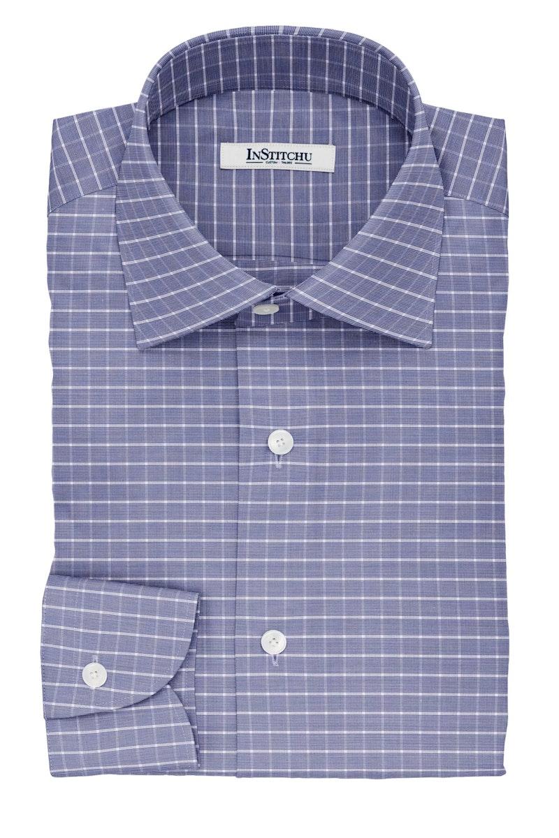 InStitchu Collection The Dante Blue Glen Plaid Cotton Shirt
