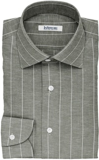 InStitchu Collection The Deighton Green and White Striped Linen Blend Shirt