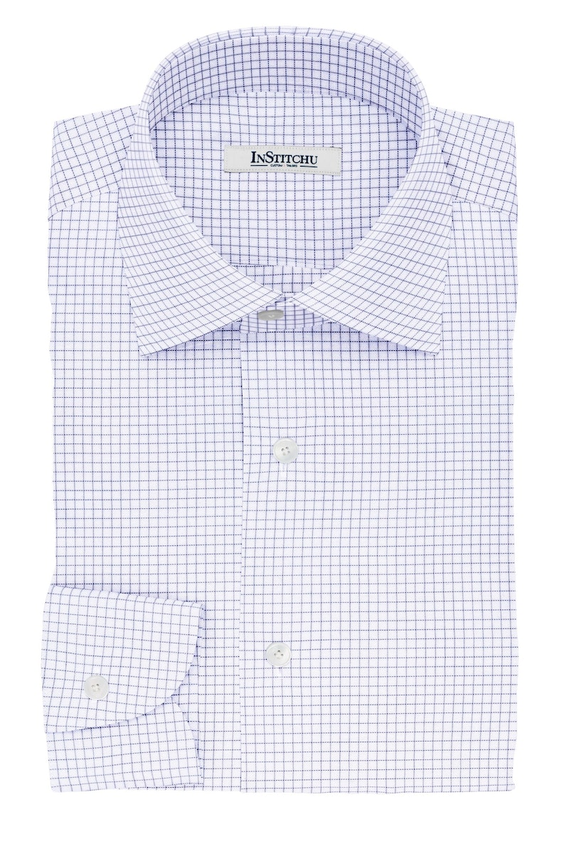 InStitchu Collection The Dickens Navy Pinstripe Check Cotton Shirt