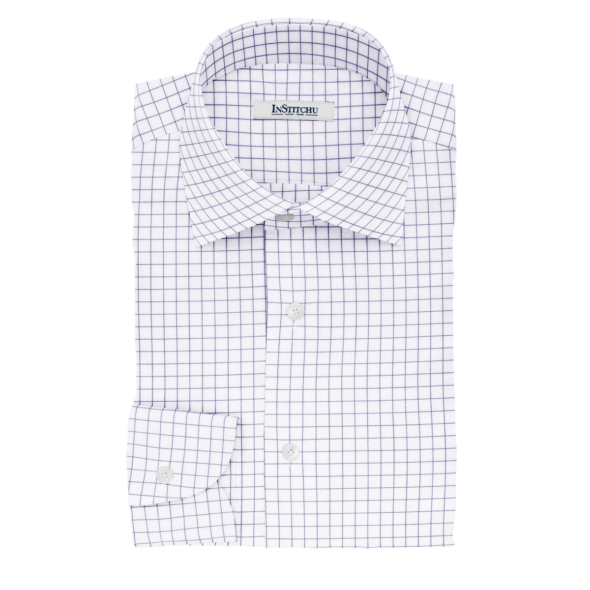 InStitchu Collection The Donne Navy Windowpane Cotton Shirt