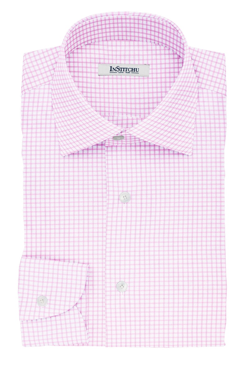 InStitchu Collection The Eliot Pink Check Cotton Shirt