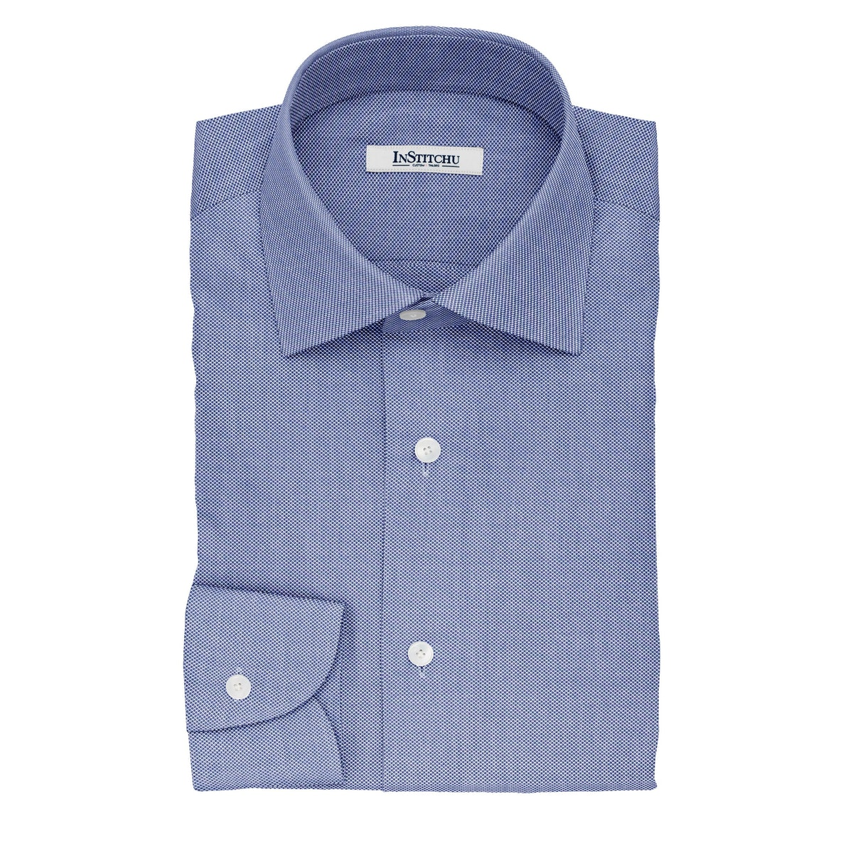 InStitchu Collection The Emerson Navy and White Dobby Cotton Shirt