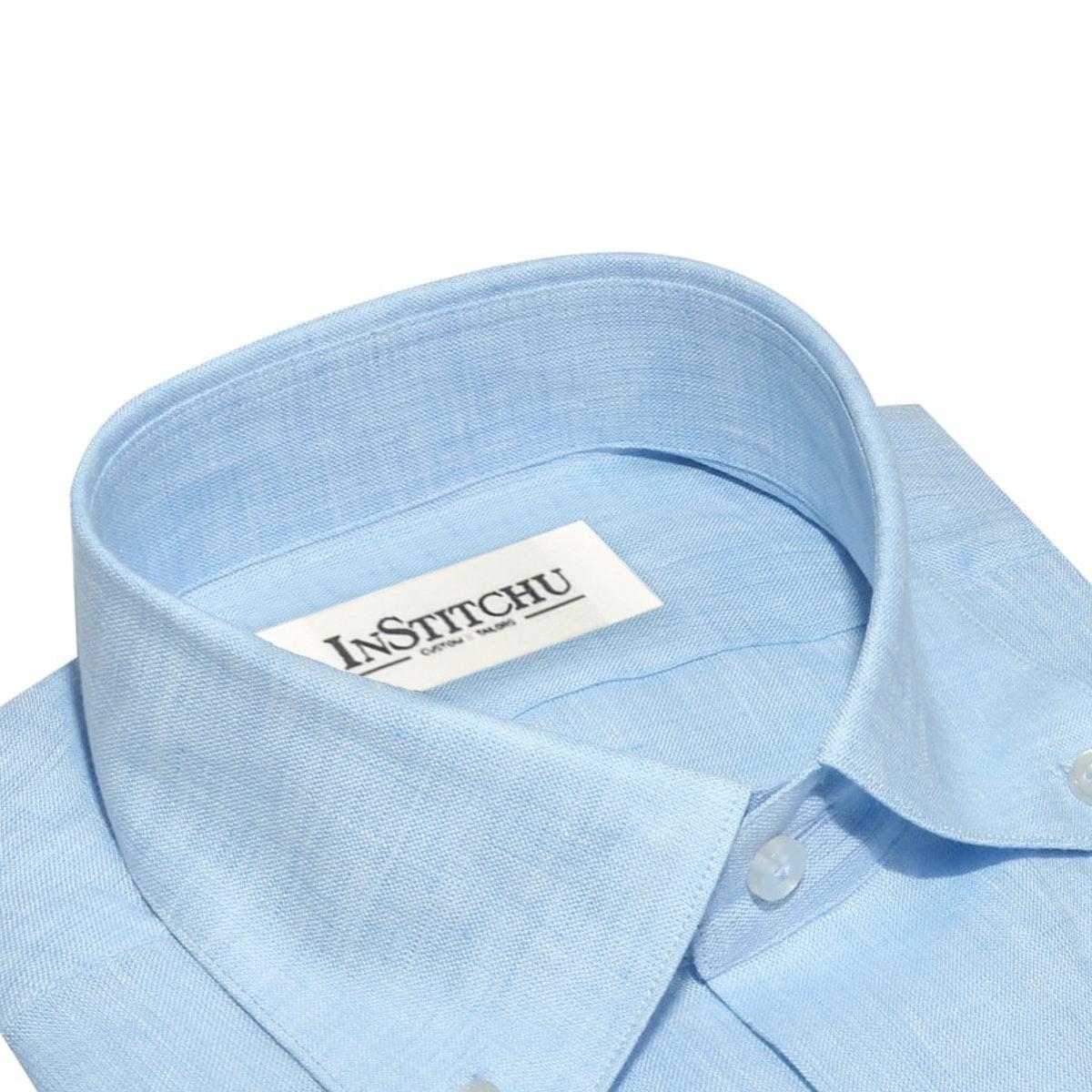 InStitchu Collection The Encinitas Light Blue Linen Shirt