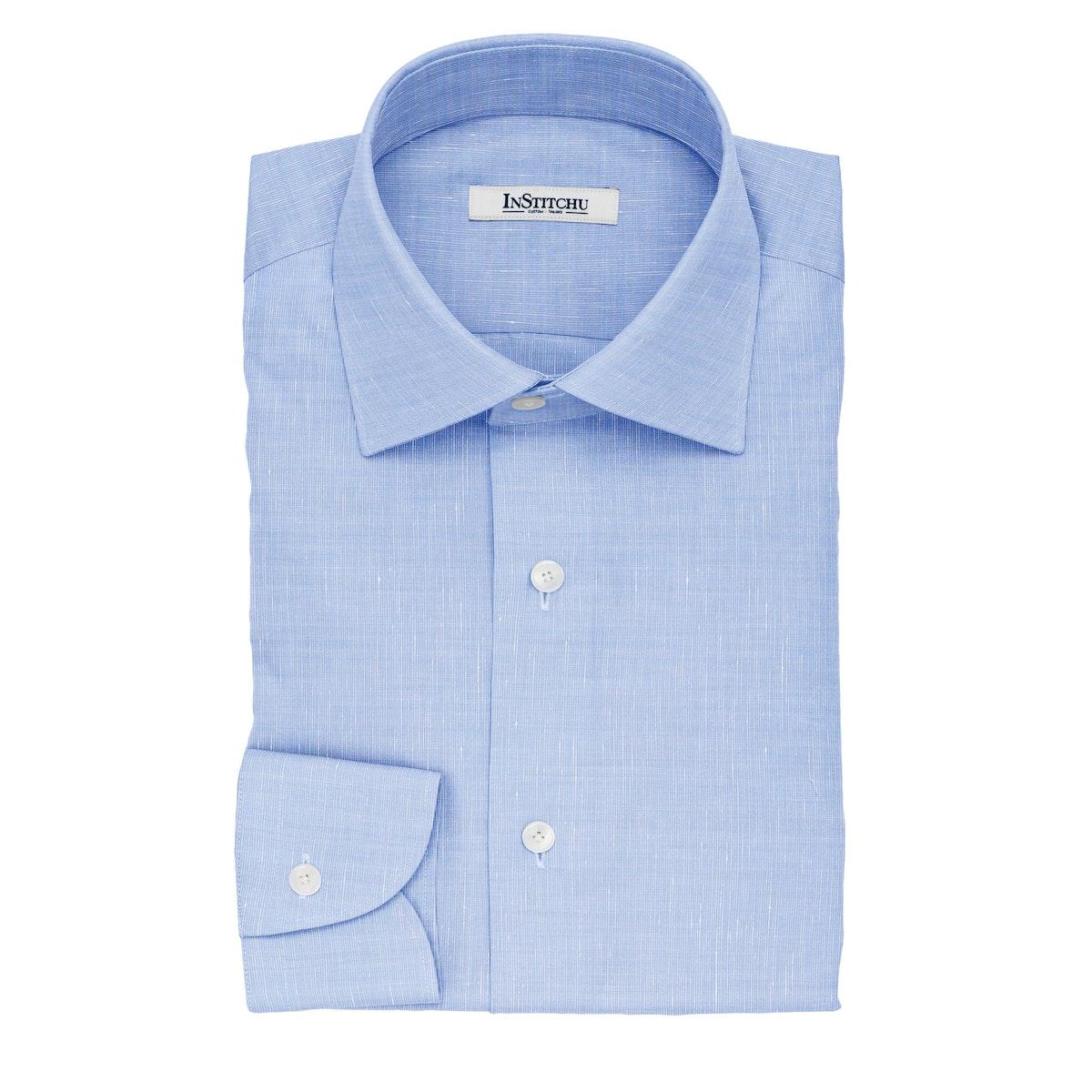 InStitchu Collection The Fitzgerald Blue Cotton Linen Blend Shirt